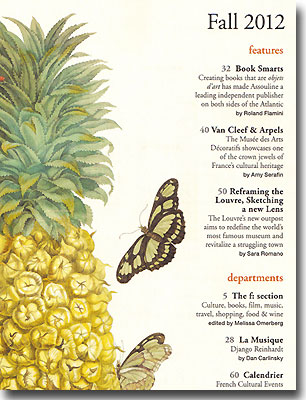 Contents page of France Magazine Fall 2012
