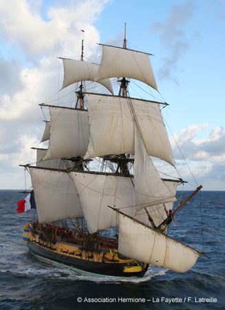 L' Hermione.  Photo courtesy of Association Hermione-La Fayette