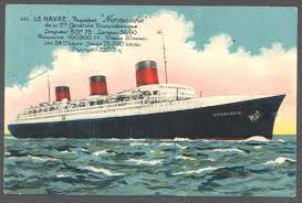 Postcard of La Normandie departure.  Courtesy French Line.