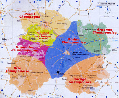 Map of La Marne, Champagne.  Courtesy of La Marne Discovery Guide