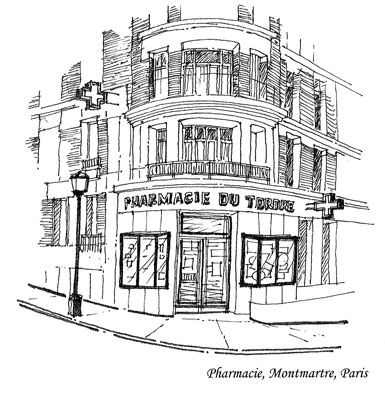 Montmartre Pharmacie.  Copyright 2009 by Cold Spring Press/George Ohanian.  All rights reserved.