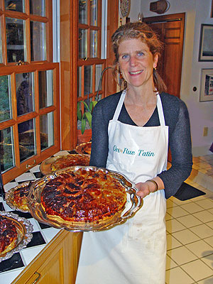 Susan with a Tarte Tatin,  Photo John Rowley.  All rights reserved.
